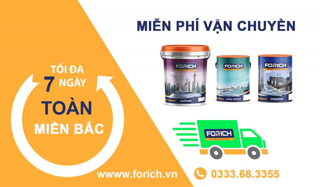 Sơn nước Forich miễn phía vận chuyển mọi đơn hàng trên toàn miền Bắc (Việt Nam) - Forich.vn